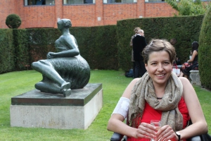 Kate, the old scarf, and a bottom made by Henry Moore.