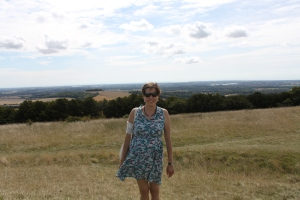 Kate at the top of Kingley Vale - Hurray!