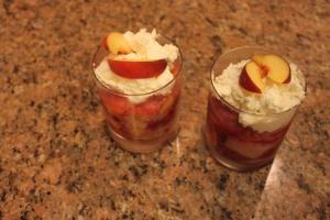 Peach and raspberry trifles.